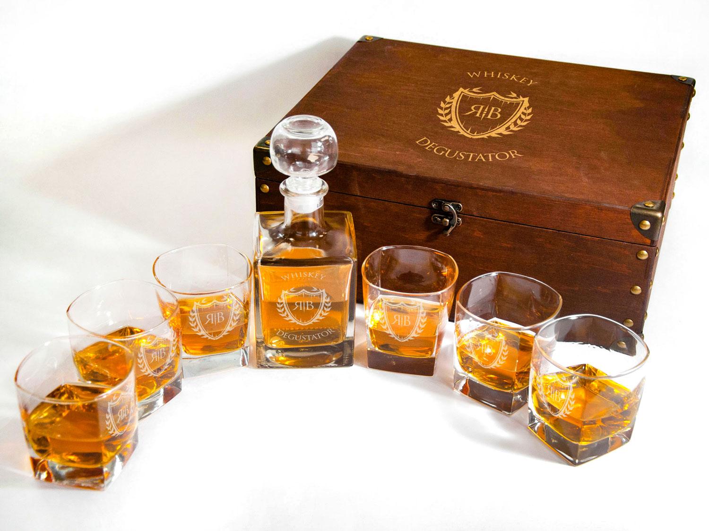 Эксклюзивный комплект из графина и бокалов для виски на 2-6 персон с гравировкой инициалов на заказ