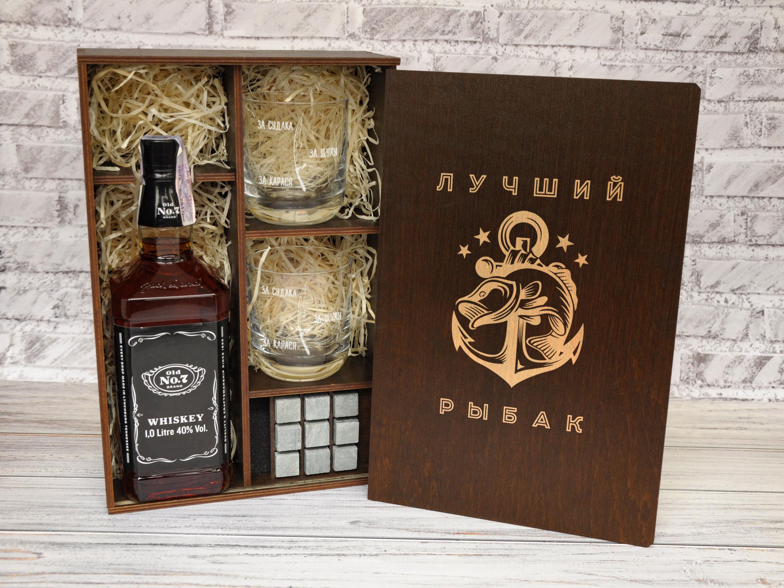 1Подарочный набор для виски с камнями в деревянной коробке