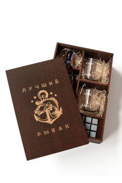 Подарочный набор для виски с камнями в деревянной коробке