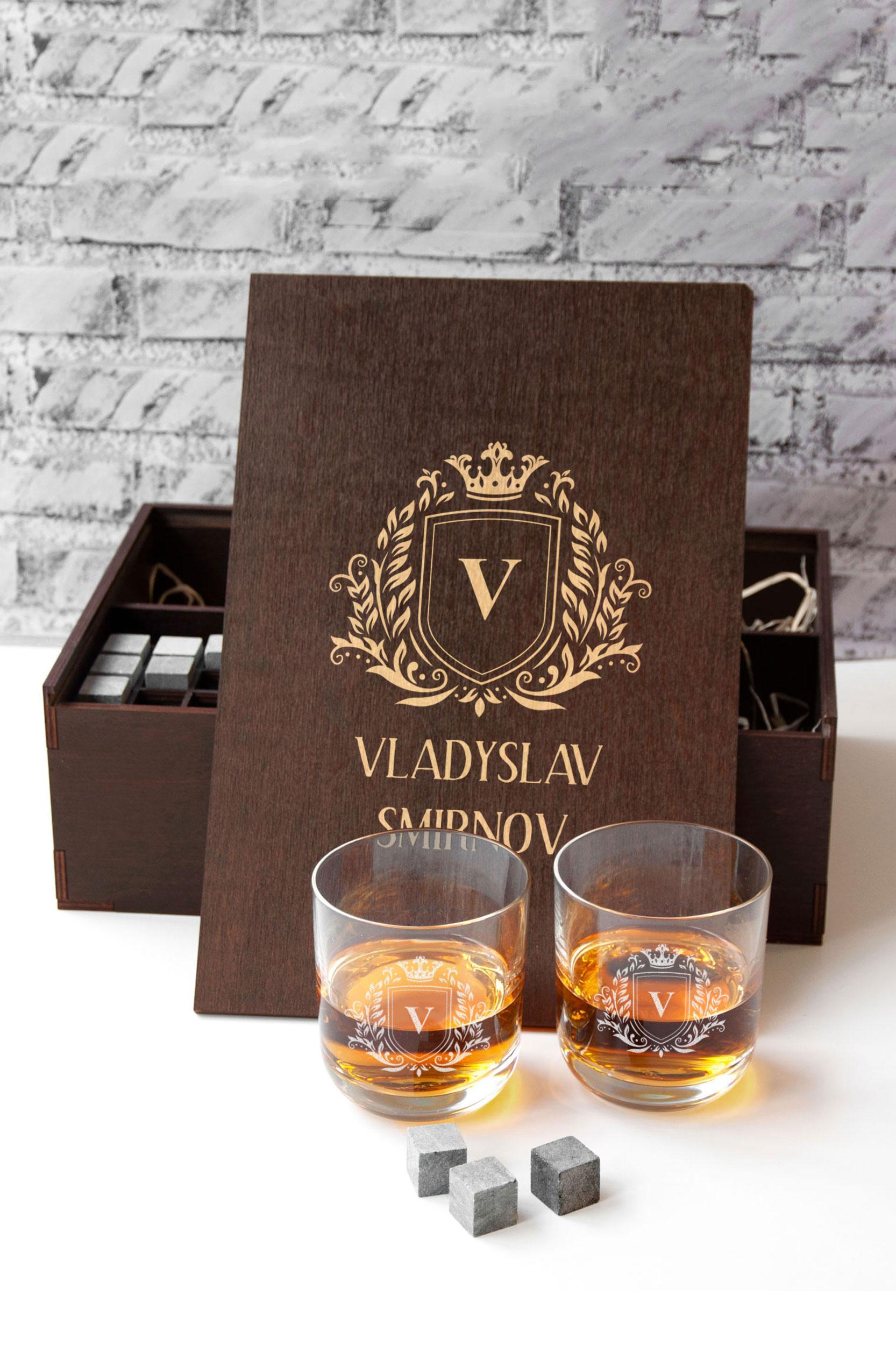 Мужской подарочный набор для охлаждения виски с именной гравировкой