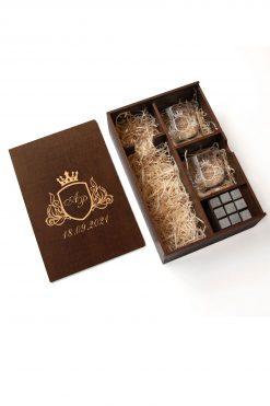 Подарочный набор для охлаждения виски в темной коробке