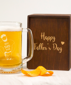 Пивной бокал на подарок папе с надписью Happy Father's day