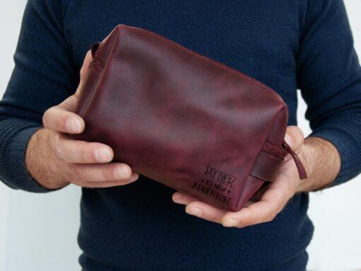 Несессер кожаный для путешествий с бесплатной гравировкой