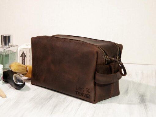 Несессер из кожи ручной работы с гравировкой для путешествий