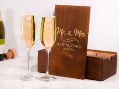 Бокалы для шампанского на свадьбу с гравировкой на заказ